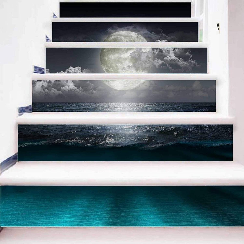 TIEZHI 3D Treppe Decals Modernes Zuhause Kreativ Treppen Schritte Aufkleber Entfernbar Seaside-Nachtszene Kunst DIY Wandbilder Wasserdicht Einfach zu verwenden, 1 Set 12 pcs, 100  18cm B07BWFNCM1   Tadellos