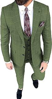 Men's Suit Slim Fit 3 Pieces Formal Prom Tuxedo Blazer Plaid Wedding Grooms