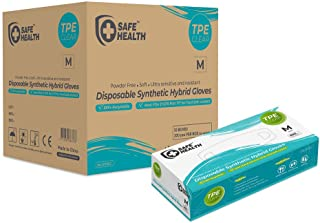 SafeHealth - TPE Synthetic Hybrid Gloves, Clear, S-XL, Case of 2000, Disposable, Powder Free, Latex Free, Food service
