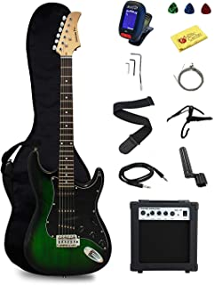Stedman Pro EG39-TGRB-10W Beginner Series Electric Guitar with Case, Strap, Cable, Capo, Picks, Electronic Tuner, String W...