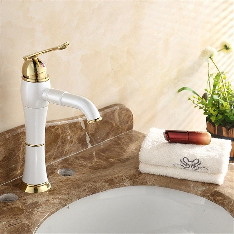 AQMMi Bathroom Vanity Sink Faucet Retro White Paint Brass Single Lever 1 Hole Ceramic Valve Hot and Cold Water Single Lever Bathroom Basin Sink Tap Bathroom Faucet