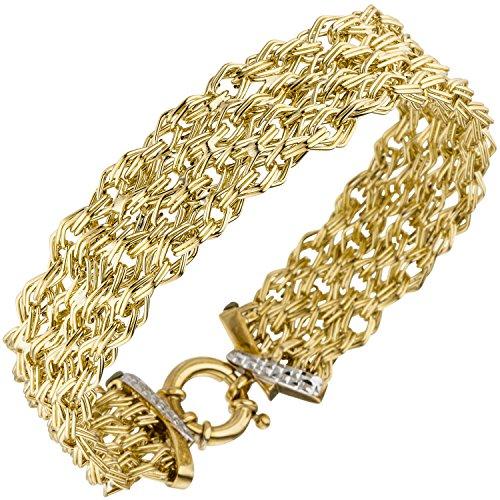 JOBO Damen Armband breit 375 Gold Gelbgold diamantiert 20 cm Goldarmband