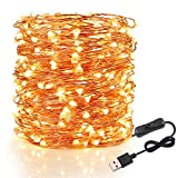 Speclux USB Powered String Lights, 200 LED Waterproof Starry Fairy Copper Wire Lighting Kits for Bedroom Indoor Outdoor Patio Garden Illumination Decor,66FT 20M, Warm White