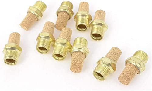 """Bronze Exhaust Muffler,Pneumatic Muffler Sintered Bronze Exhaust Muffler 1/8"""" NPT Brass Body (Pack of 10)"""