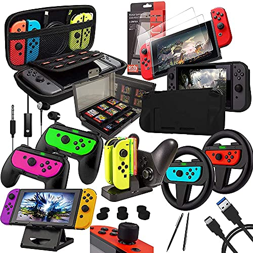 wsydd Mystery Box Accessories Bundle Compatible with Nintendo Switch - Geek Pack: Case & Screen Protector, Joycon Grips & Racing Wheels, Controller Charge Dock, Comfort Grip Case & More - JetBlack
