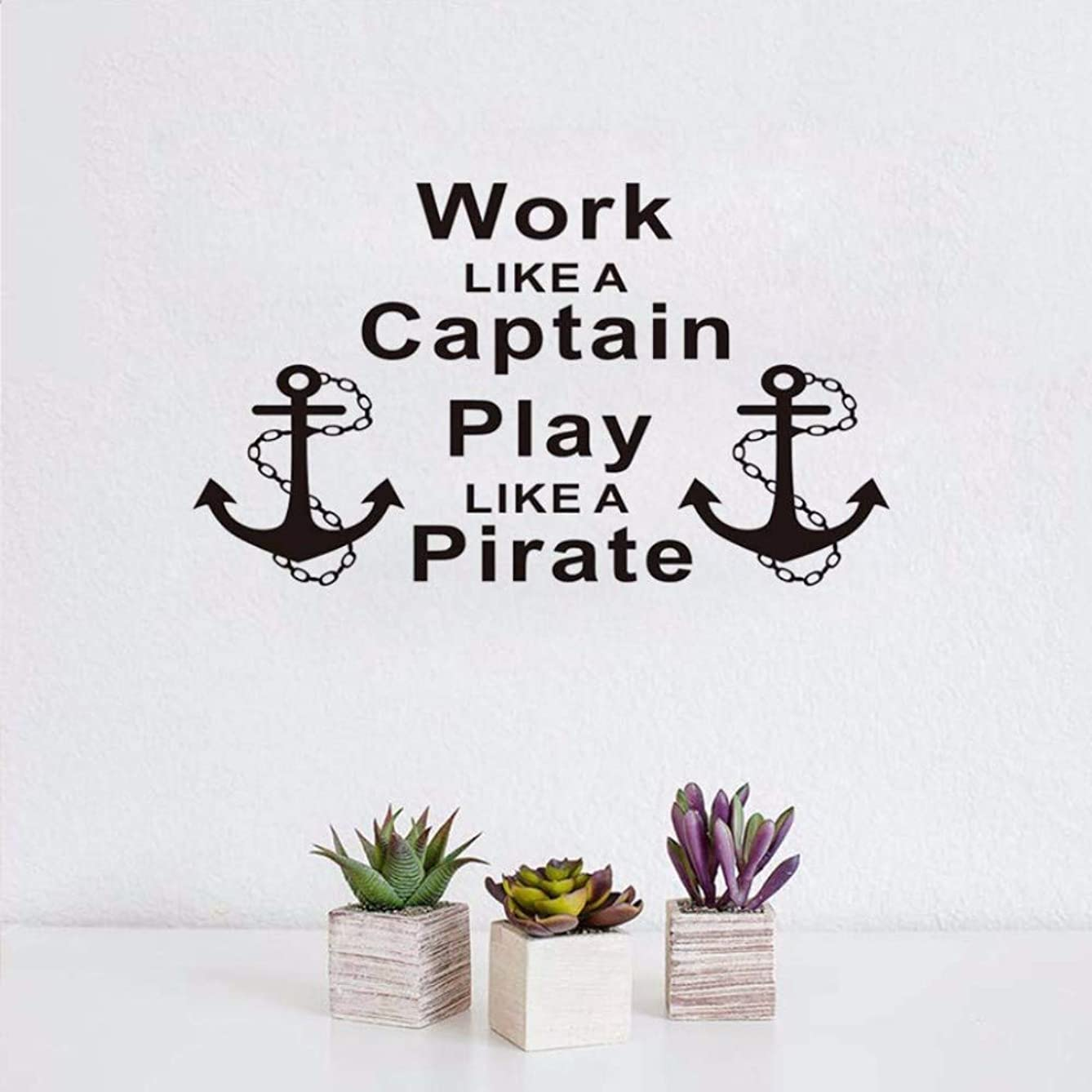 EASTONE Inspiring s Work Like A Captain Play Like A Pirate Wall Stickers Anchors Letters Home Decor Living Room Vinyl Wall Decals 100X58CM