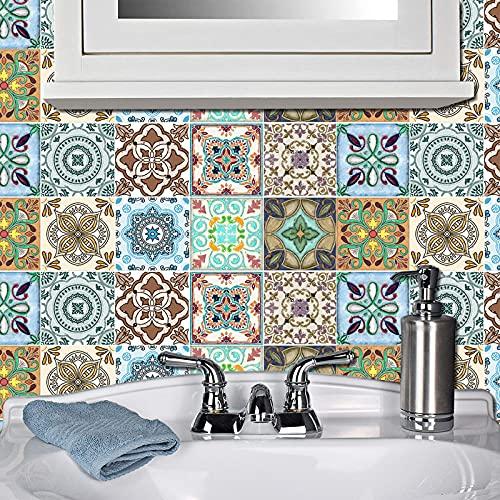 20 pegatinas de azulejos autoadhesivas de Mosaico, azulejos de pared impermeables, papel de azulejos, bricolaje, para decoración de casa, cocina, cuarto de baño, 20 x 20 cm
