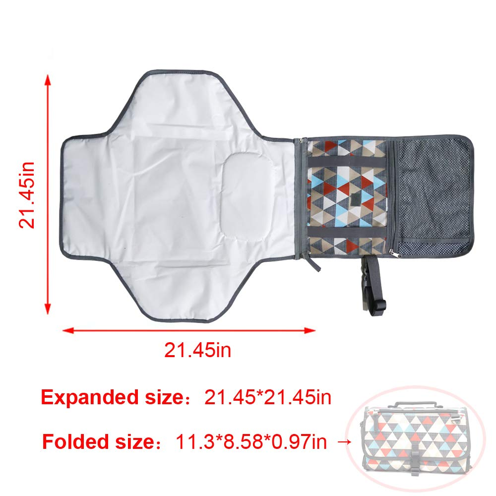 Baby Changing Pad Portable Diaper Changing Pad Wipeable Travel Changing Station (Triangle Pattern)