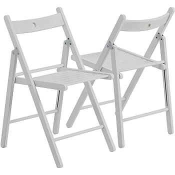 Chaises en bois pliantes couleur bois blanc lot de 4