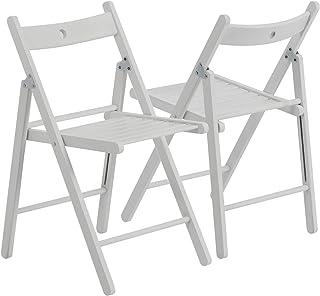 Silla plegable - Madera - Blanco - Pack de 4