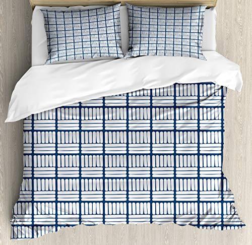 ABAKUHAUS Nederlands Dekbedovertrekset, Hand Getrokken Delft Stripes, Decoratieve 3-delige Bedset met 2 Sierslopen, 200 cm x 200 cm, Dark Blue and White