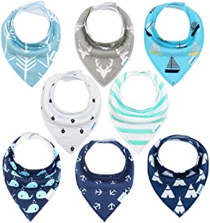 Baby Bibs 8 Pack Soft and Absorbent for Boys & Girls -...