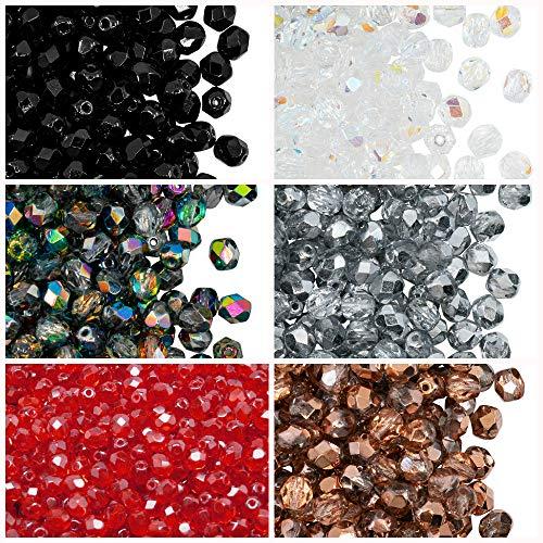 300 pcs 6 couleurs Tchèque Perles en verre Fire-Polished Rond 6mm, Set 601 (6FP001 6FP002 6FP003 6FP007 6FP008 6FP012)