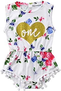New Baby Girls 1st Birthday Outfits Summer Floral Wild Bodysuit Romper