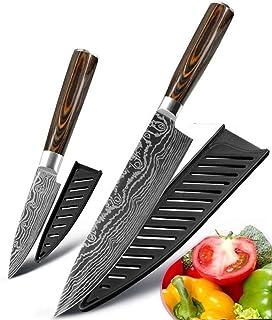 Ensemble de Couteau de Cuisine Couteau de cuisine 8 pouces Couteaux chef japonais inoxydable Set acier Laser Damas Dessin ...