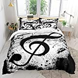 Music Note Bedding Music Clef Duvet Cover Set Black White Clef Printed Design Teens Boys Girls Bedding Set Queen 1 Duvet Cover 2 Pillowcases (Queen, Black White)