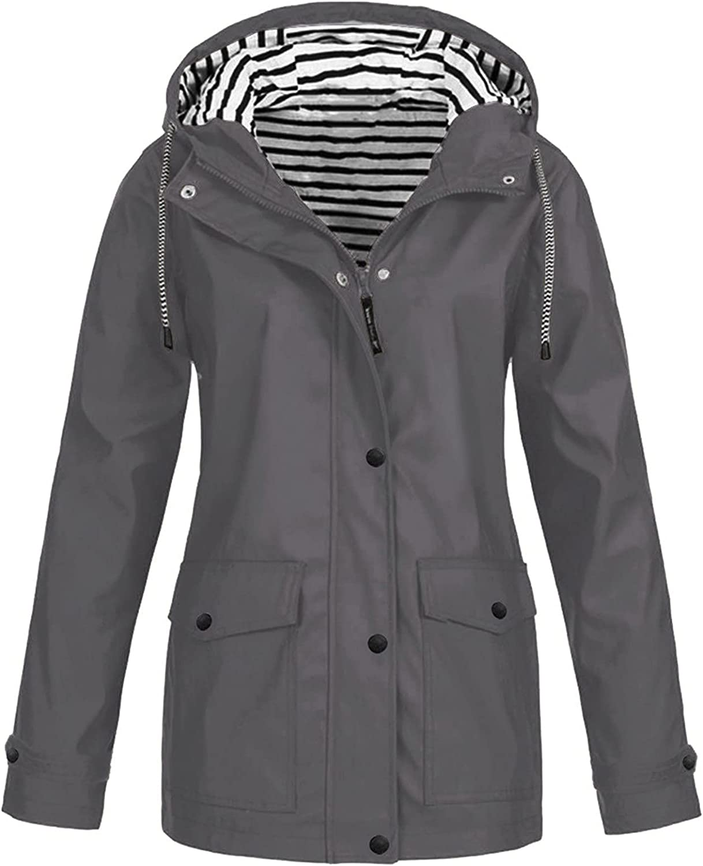 VonVonCo Womens Plus Size Tops Pure Rain Jacket Outdoor Casual Waterproof Wear A Hat Raincoat Windproof