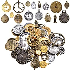 "Package included: 100g mixed antiqued charms clock face charms Material: Zinc Alloy. Pendants Charms Size:1-5cm. Useful :Jewelry Making,Jewelry DIY,Charms,pendant. Note:The spacers beads are sold in ""GRAM"", (quantity may vary due to different sized b..."