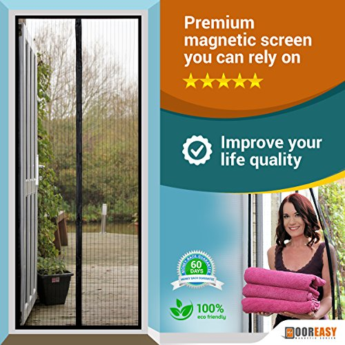 "DOOREASY Magnetic Screen Wide Range Sizes Screen Door, Full Frame Loop Sewn Polyester Mesh, Add-on Magnets and Weight Bars(Fits Doors up to 30""x79"")"