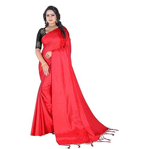 3258cb37de Plain Red Saree: Buy Plain Red Saree Online at Best Prices in India ...