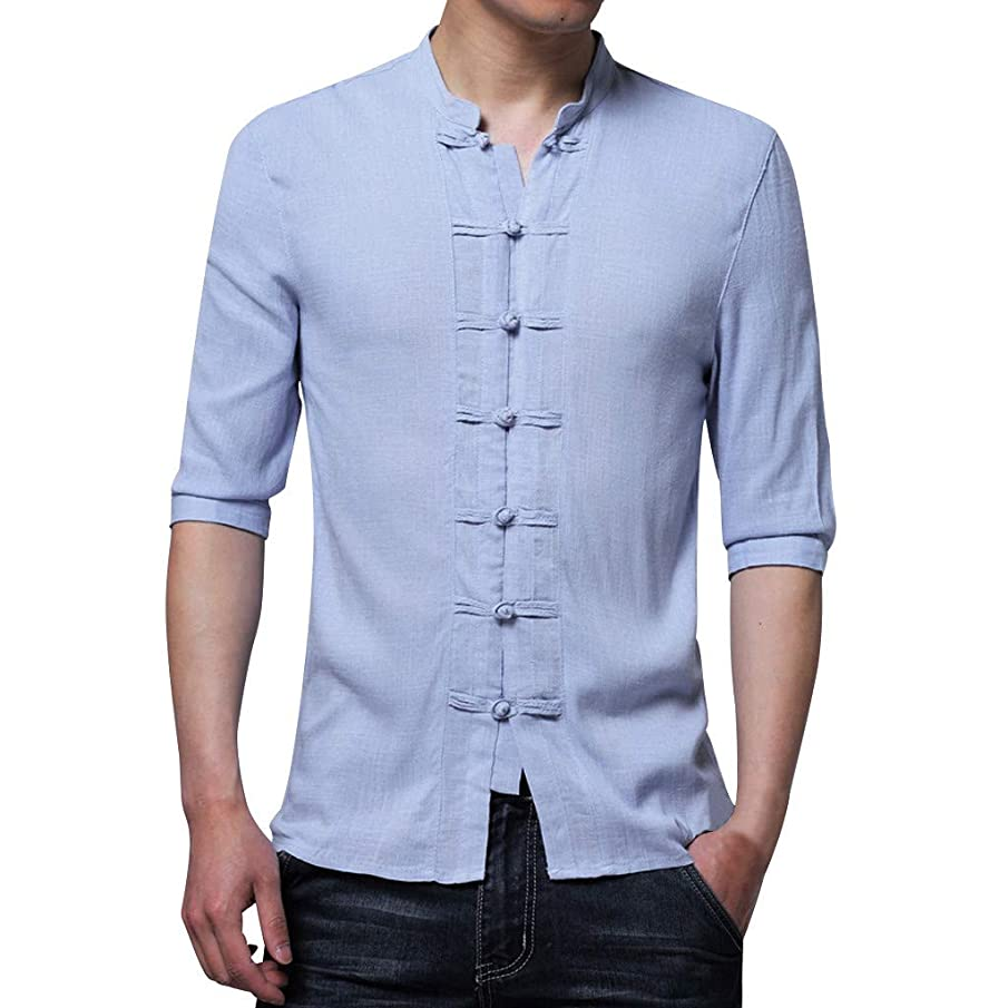 LUCAMORE Mens Half Sleeve Shirt Chinese Traditional Tai Chi Suit Cotton Linen Top Slim Fit Blouse