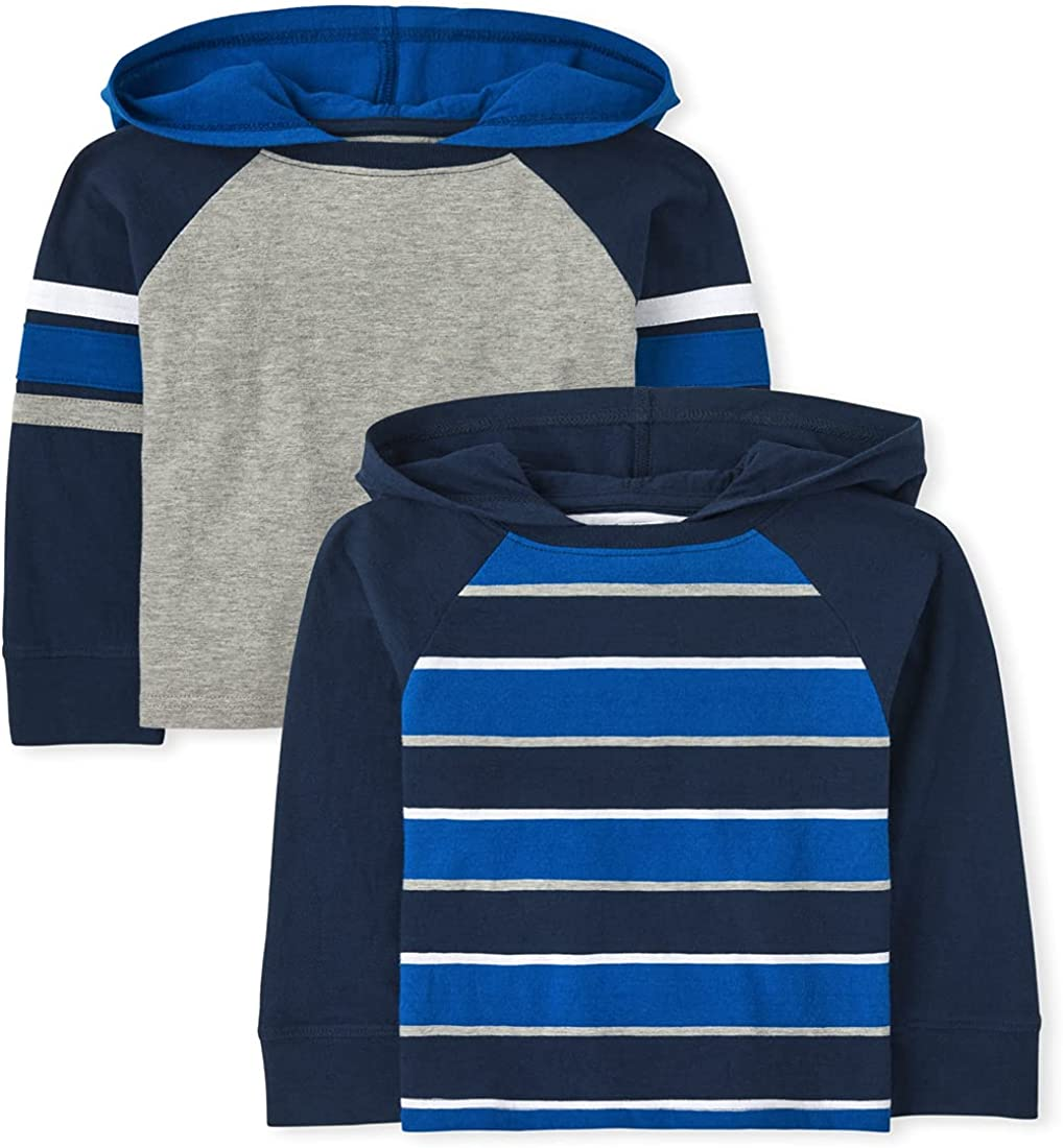 The Children's Place and Toddler Boy Long Sleeve Striped Hoodie Top 2-Pack