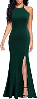 Lyrur Women's Sexy Spaghetti Straps Slit Formal Long Bridesmaid Maxi Party Evening Dress Mermaid Prom Gown