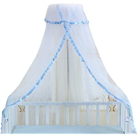 Vosarea Baby Mosquito Net Foldable Baby Cribs Bedding Round Dome Bed Curtains Conical Children Bedroom Blue Lace