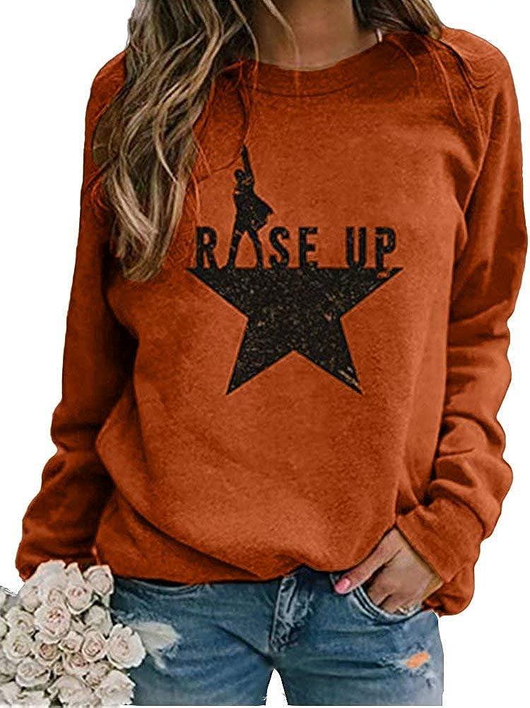 Women's Rise up Hamilton Shirt Long Sleeve Crewneck Casual Loose Fit Pullover Sweatshirts