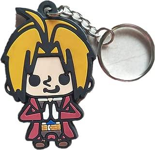 YUDUODUO Fullmetal Alchemist Rubber Pendant Keychain Anime Double Sided Keyrings