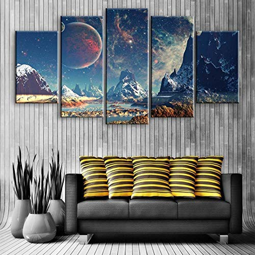 GSDFSD Set of 5 Posters Space Mountain Non-woven Canvas Print Wall Art work Picure Photo Home Decoration 150x80 Frameless