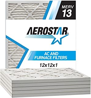 Aerostar 12x12x1 MERV 13 Pleated Air Filter, Made in the USA, 6-Pack