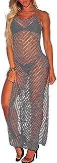 Keaac スノークススプリット中空ロングドレスを編む女性ノースリーブビーチビキニスイムウェア