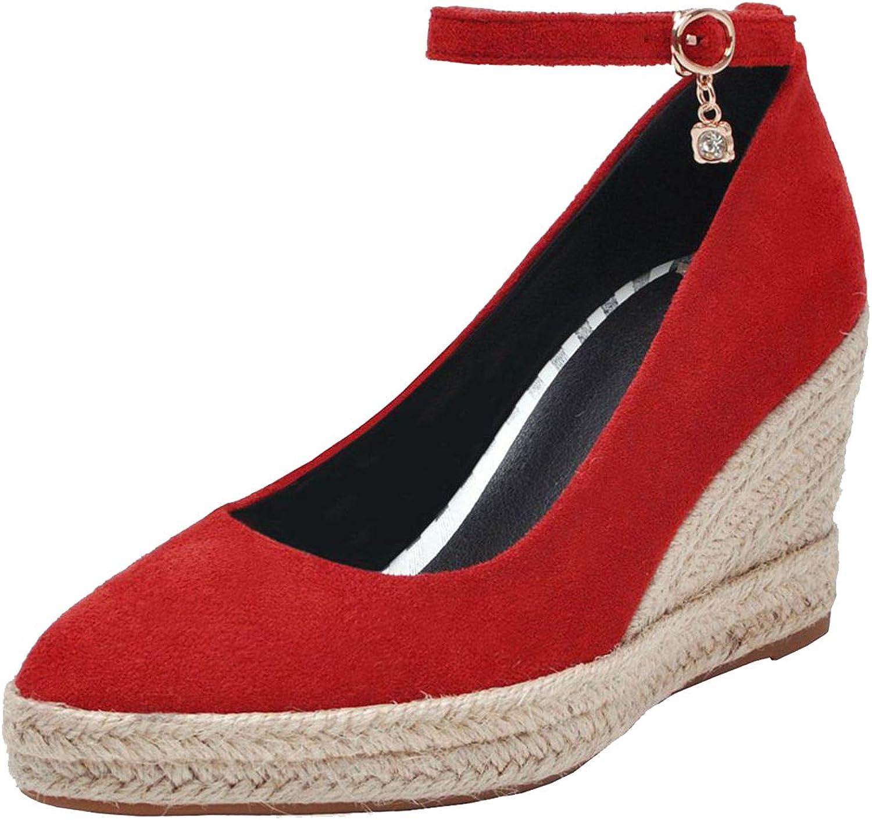 Vitalo Womens Ankle Strap Espadrilles Wedges Platform High Heel Pump Pointed Toe Court shoes