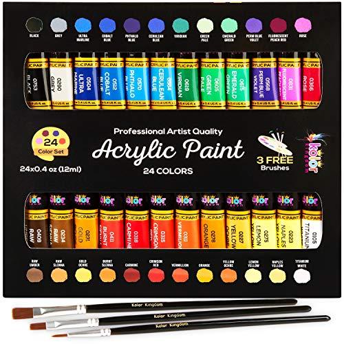 Acrylic Paints Set 24 Colour Paint Kit with 3 Paint Brushes for School Supplies,Crafts Paints, Paper,Canvas, Rock Painting, Wood,Ceramic & Fabric -Vibrant Colors-Non-Toxic