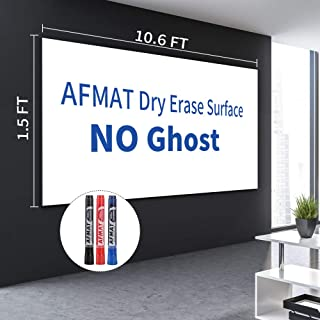 AFMAT Dry Erase Roll, White Board Wall Sticker, 1.5 x 10.6 ft White Board Paper Sheets, Dry Erase Adhesive Paper, Dry Erase Wall Decals, Super Sticky, Stain Proof, 3 Dry Erase Markers