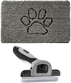 Gorilla Grip Indoor Doormat and Pet Grooming Brush, Inside Paw Gray Chenille Door Mat is 36x24 Size, 2 Item Bundle