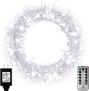 Ollny Outdoor String Lights 66ft 200 LEDs Cool White Christmas Fairy String Lights 8 Modes with Remote and Timer Plug in use for Indoor Bedroom Wedding Party Patio Christmas Lights CONNECTABLE