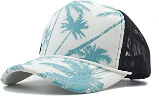 HUIMEIS AU Fashion Women Men Summer Seaside Mesh Baseball Cap with Coconut Tree Seaside Holiday Trucker Hats-*+ (Color : Green, Size : 56-60CM)