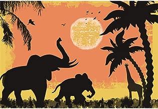 Laeacco Cartoon Zoo Vinyl Photography Background 5x3ft Elephants Giraffe Coconut Palms Sketch Sun Flying Birds Baby Birthday Backdrop Kid's Room Wallpaper Baby Shower Environment Protect