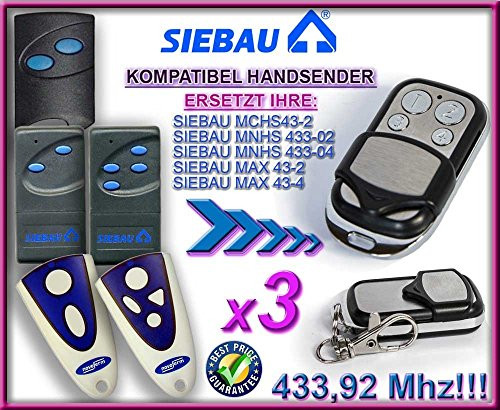 3 X SIEBAU MCHS43-2 / MNHS433-02 / MNHS433-04 / MAX 43-2 / MAX 43-4 Kompatibel Handsender, 433.92Mhz rolling code keyfob