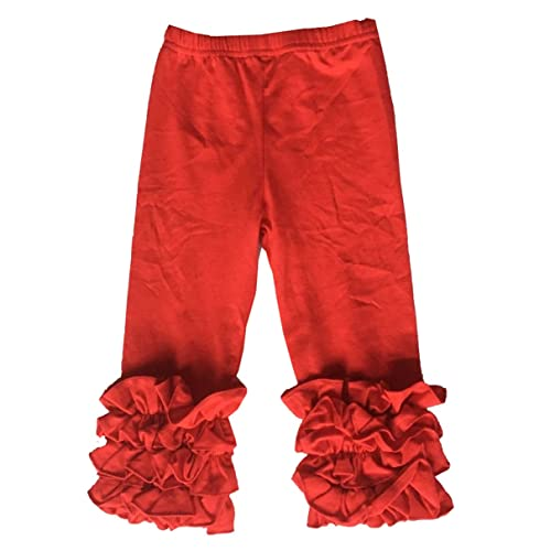 a7a351ba103e43 Little Girls Ruffle Pants Icing Solid Cotton Pant