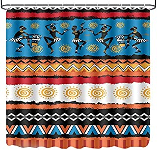 LINENLUX Shower Curtain,Waterproof Polyester Fabric Bath Curtain with 12 Hooks(Ancient Egypt, 72x72 Inch)