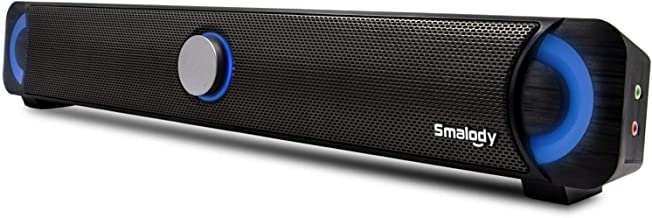 Computer Speakers, Smalody PC Wired Computer Sound Bar,7 Color Pulsation LED Flicker Stereo USB Powered Mini Soundbar for ...