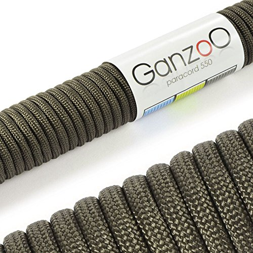 Ganzoo Paracord 550 Seil für Armband, Leine, Halsband, Nylon-Seil 30 Meter, tarn-grün