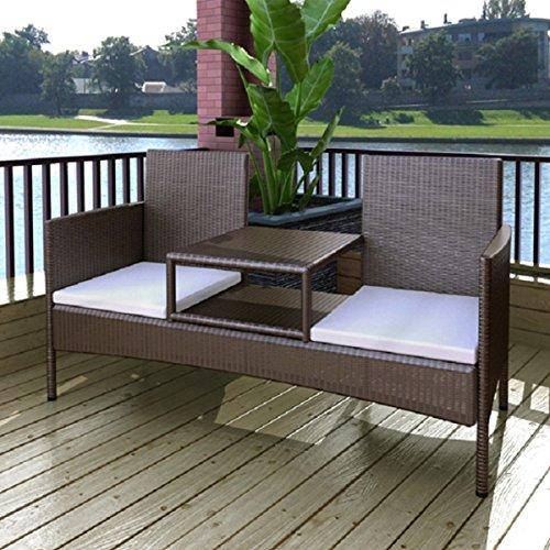 LD polyrotan 2-zits zitbank tuinbank lounge bank sofa tuinmeubelen + tafel