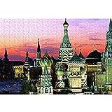 Kremlin at Dusk Puzzle Adulto 1000 Piezas Landscape Rompecabezas clásico Juguetes educativos para aliviar el estrés y los desafíos cerebrales 38x26cm