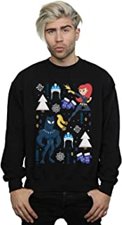 Marvel Men's Black Panther and Black Widow Christmas Day Sweatshirt