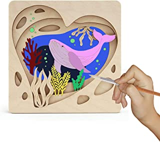 Kids Wood Craft Kits for Girls Activity Paint Your Own Whale 3D Picture Arts and Crafts Set for Teens DIY Painting Kit for...