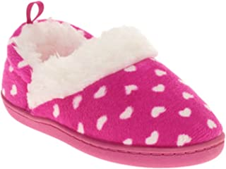 Toddler Girls Pink Heart Print Polka Dot Aline Loafer Style Slippers House Shoes